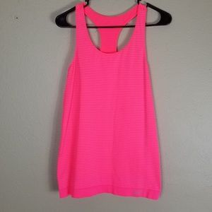Under Armour Hot Pink Striped Racerback Tank Top